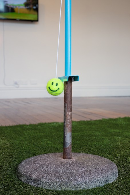 Deborah Rundle and Layne Waerea, Hybrid Spring, 2018, swing ball set, concrete stand, synthetic grass. Image courtesy of Xander Dixon.