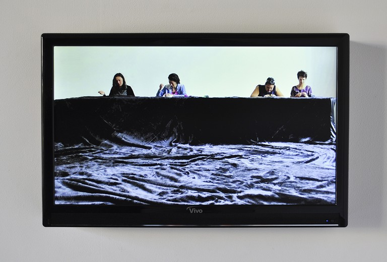 Fig 2. Mata Aho Collective, Te Whare Pora, video, dimensions variable. 2013 © Enjoy Public Art Gallery