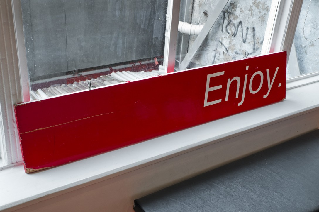 The original Enjoy Sign. Once there were no windows, 2016. Image courtesy of Shaun Matthews.