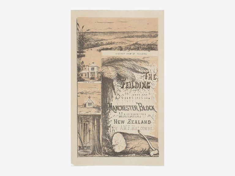 Edith Stanway Halcombe, Title page: The Feilding Settlement, Manchester Block, Manawatu. N.Z., c. 1878, lithograph, Te Papa: 1992-0035-1874/1-12