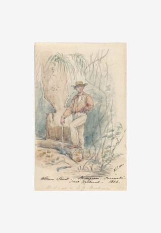 William Strutt, Mangarie [Mangaire], Taranaki, New Zealand, 1856, pen and wash, National Library of Australia: nla.pic-an3240357