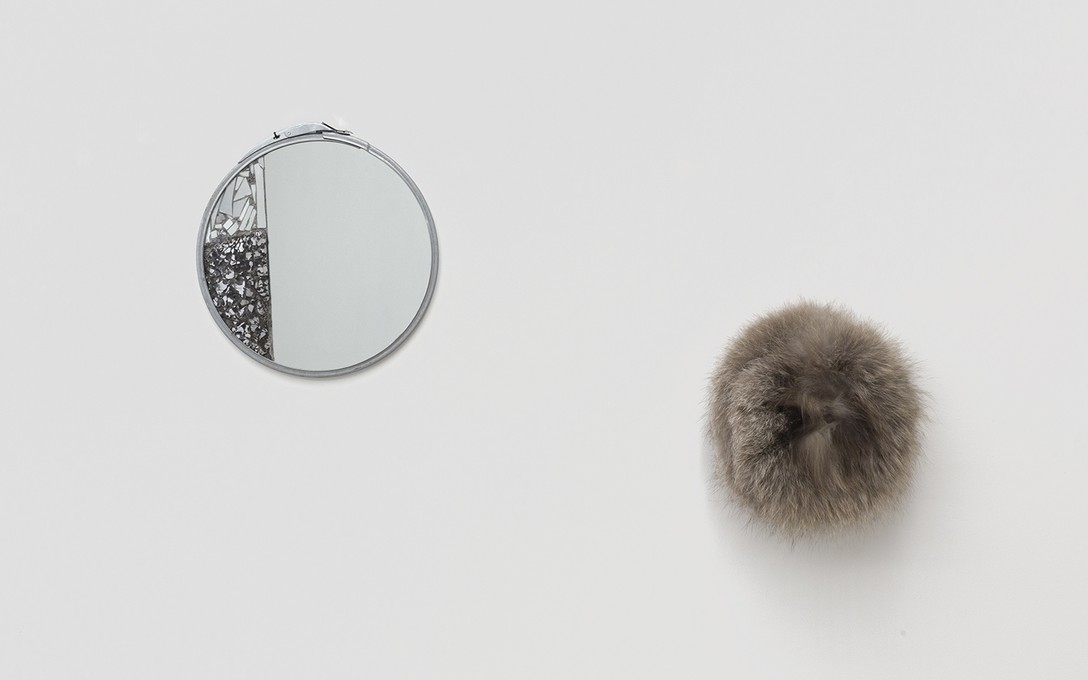 Bena Jackson and Teresa Collins, Wing mirror, 2021, mirrors, paint tin rim and Cooki's hat, 2021, fur hat. Image courtesy of Cheska Brown.