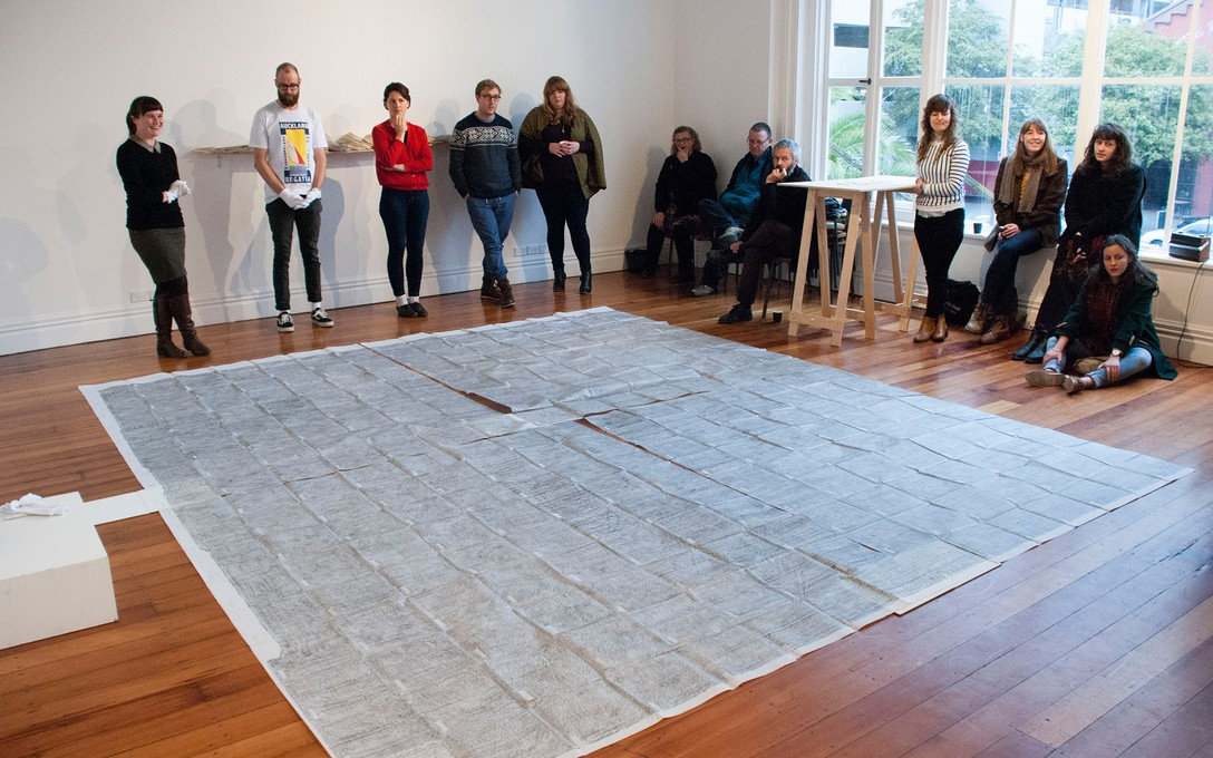 Gabrielle Amodeo, Public Programme: Unfolding Our Bedroom. Image courtesy of Louise Rutledge.