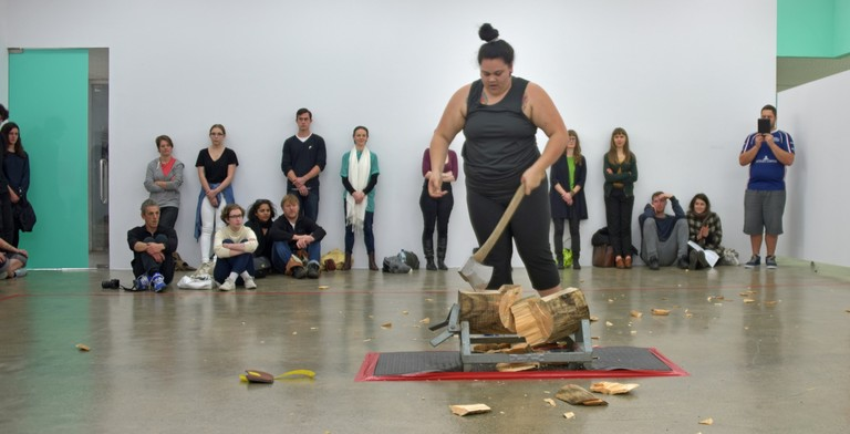 Darcell Apelu, New Zealand Axemen's Association: Women's Sub Committee - President, documentation of performance, August 2, 2014. Image courtesy of Peter Jennings © Artspace NZ