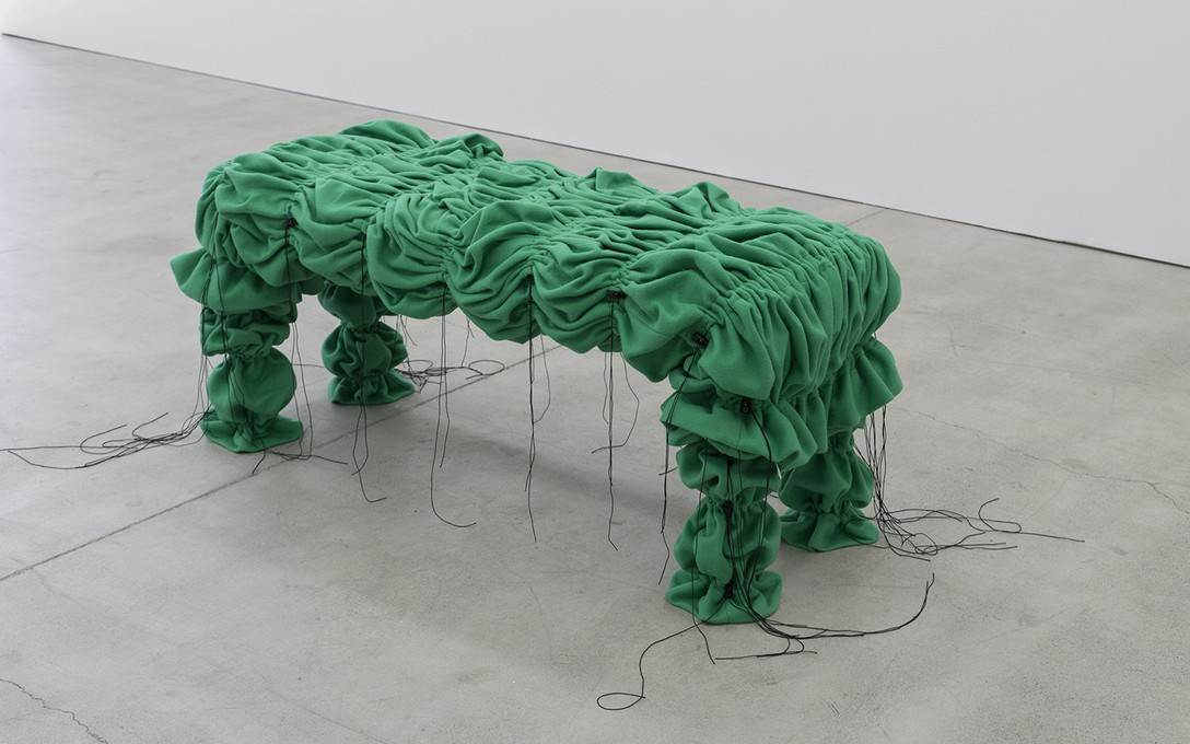 Lucy Meyle, Covered bench (Kermit), 2020, fleece fabric, plywood, elastic, togles, thread. Image courtesy of Cheska Brown.