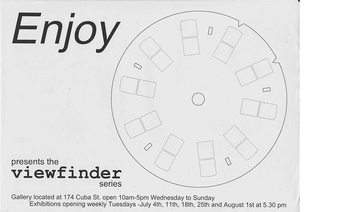 Enjoy's first exhibition poster, designer unknown, 2000. Courtesy of Tao Wells.