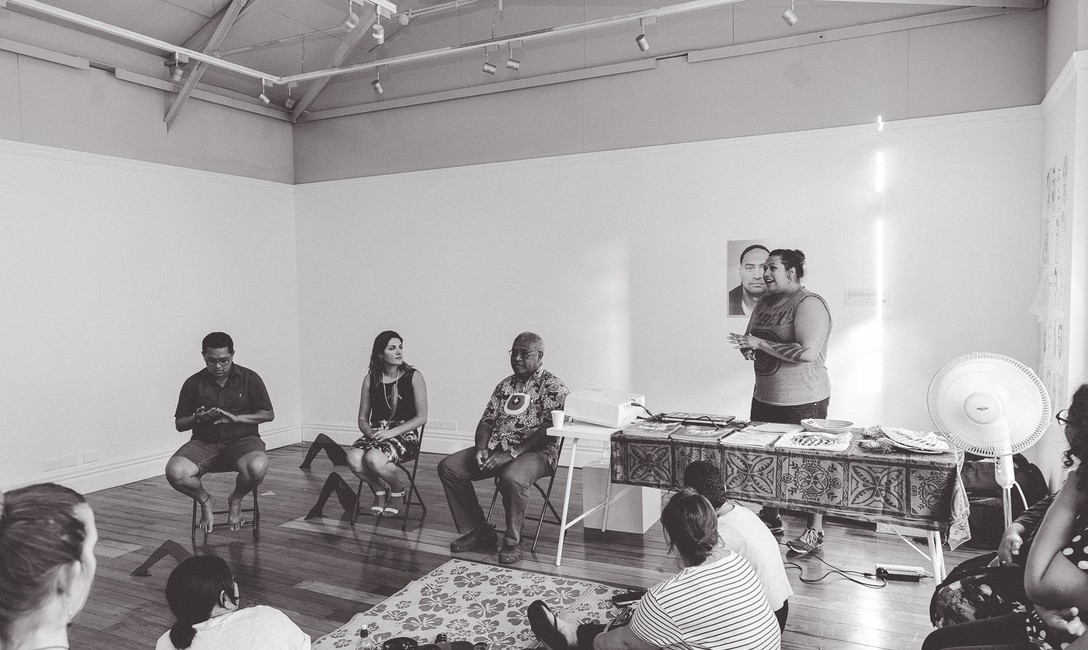 Naqalotu: Na qalo tu - A panel discussion on new work by Luisa Tora. Image courtesy of Andrew Matautia.