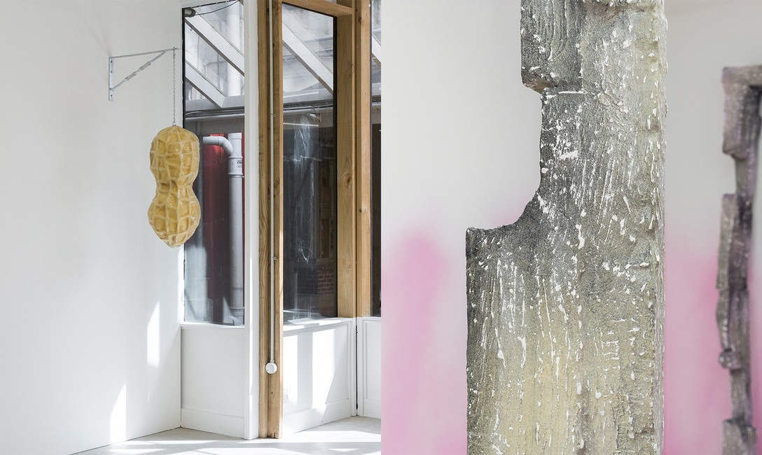 LEFT: Lucy Meyle, Peanut sign, 2020, fibreglass, paint, steel bracket, zinc-plated chain. RIGHT: Emerita Baik, 37:5–6, 2020, detail. Images courtesy of Cheska Brown.