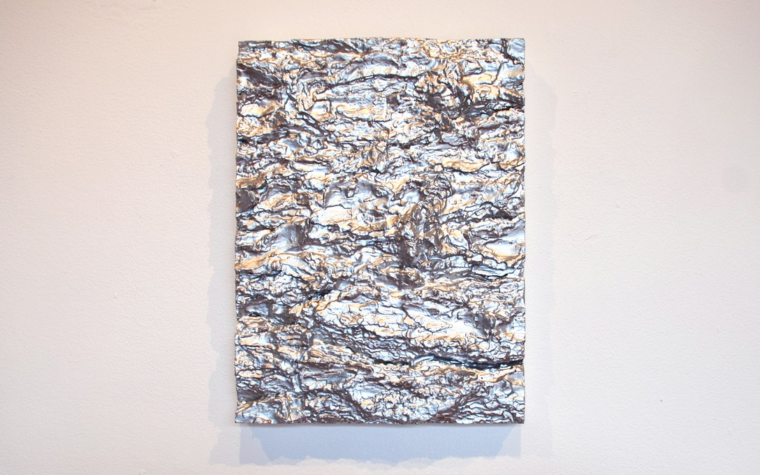 John Nixon, Silver Monochrome, 2010. Enamel and bark on canvas, 305 x 230mm. Image courtesy of Oscar Perry.