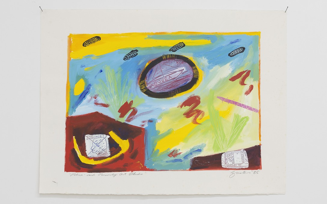 Jane Zusters, Police raid on Ponsonby art studio, 1985, acrylic on paper. Image courtesy of Cheska Brown.