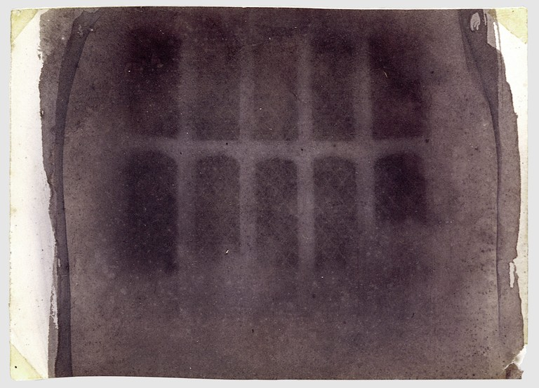William Henry Fox Talbot, The Oriel Window, South Gallery, Lacock Abbey, probably 1835, photogenic drawing negative, 8.5 × 11.6 cm (3 3/8 × 4 9/16 in.), irregularly trimmed, Museum of Modern Art, New York. The Rubel Collection, Purchase, Ann Tenenbaum and Thomas H. Lee and Anonymous Gifts, 1997.