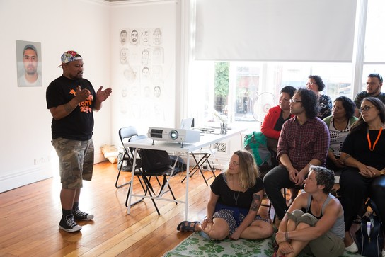 Artist talk with Tanu Gago. Image courtesy of Andrew Matautia