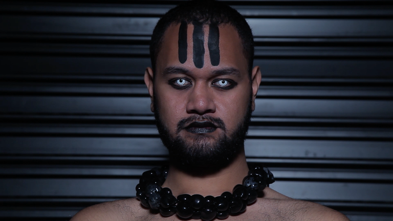 Manu Vaea, Pati Solomona Tyrell, Sione Monu, WITCH BITCH presents Statuesque Anarchy, 2017. Three-channel digital video, single channel video stills. Images may not be reproduced without permission from the artists.