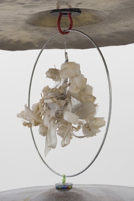 Bena Jackson and Teresa Collins, Molly's gift, 2021, cymbals, foam, washers, cable, glass, fake flowers, detail. Image courtesy of Cheska Brown.