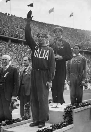 Photograph of the 1936 Berlin Olympic Games medal ceremony for the 1500 metres final, 6 Aug 1936 Reference Number: MSX-2261-066 National Library