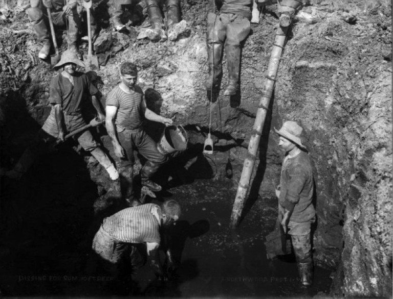 Northwood, Arthur James, 1880-1949. Digging for gum, Northland. Northwood brothers: Photographs of Northland. Ref: 1/1-011220-G. Alexander Turnbull Library, Wellington, New Zealand. http://natlib.govt.nz/records/22785375. Permission of the Alexander Turnbull Library, Wellington, New Zealand, must be obtained before any reuse of this image.