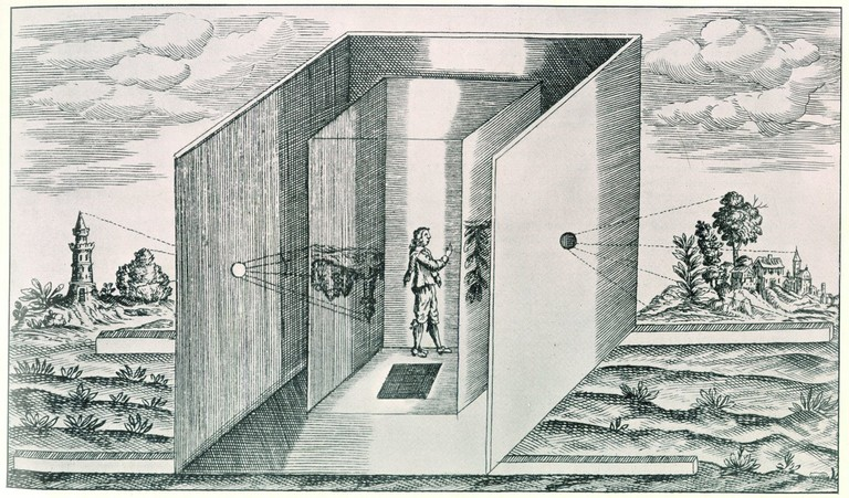 "Athanasius Kircher, ""Sketch of Athanasius Kircher's portable camera obscura"", 1671, from Ars Magna Lucis, Gernsheim Collection, Harry Ransom Humanities Research Center, University of Texas at Austin, accessed 14 July 2016, http://camera-obscura.co.uk/camera_obscura/camera_history.asp"