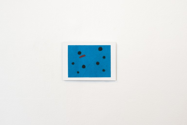 Scanned monoprint of Miró postcard of Bleu I, 1961, 2019, digital print on Hahnemühle paper, mounted on aluminium. Image courtesy of Xander Dixon.