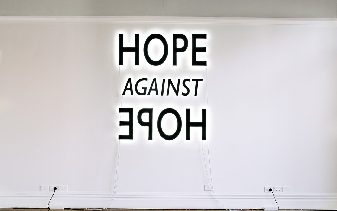 Deborah Rundle, Hope Against Hope, 2018, mdf, L.E.D. lights, Dulux Tuatapere paint. Image courtesy of Xander Dixon.
