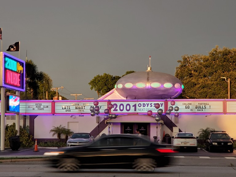 Exterior of 2001 Odyssey strip club in Tampa, Florida, 2019. Image courtesy of Jim De Mauro.