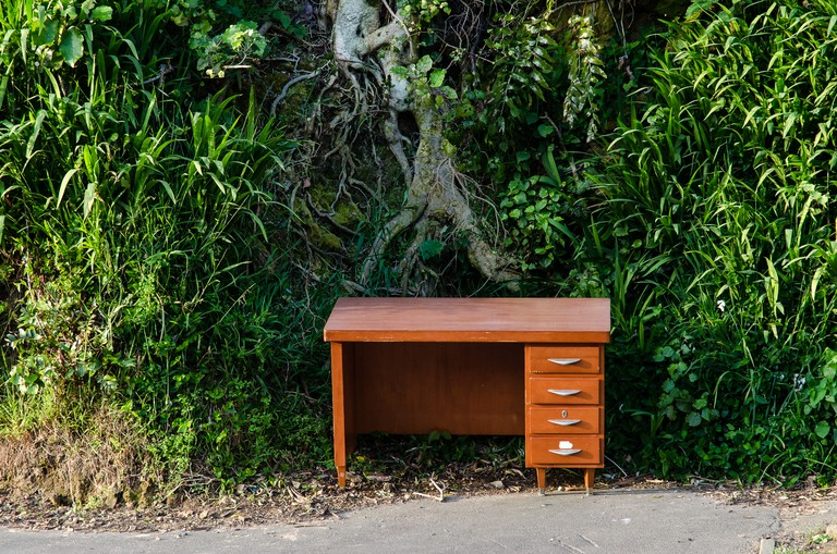 Mary Macpherson, Pine desk with veneer, Wellington. Archival inkjet print, 420x594mm, series 2011- 2014. © Mary Macpherson