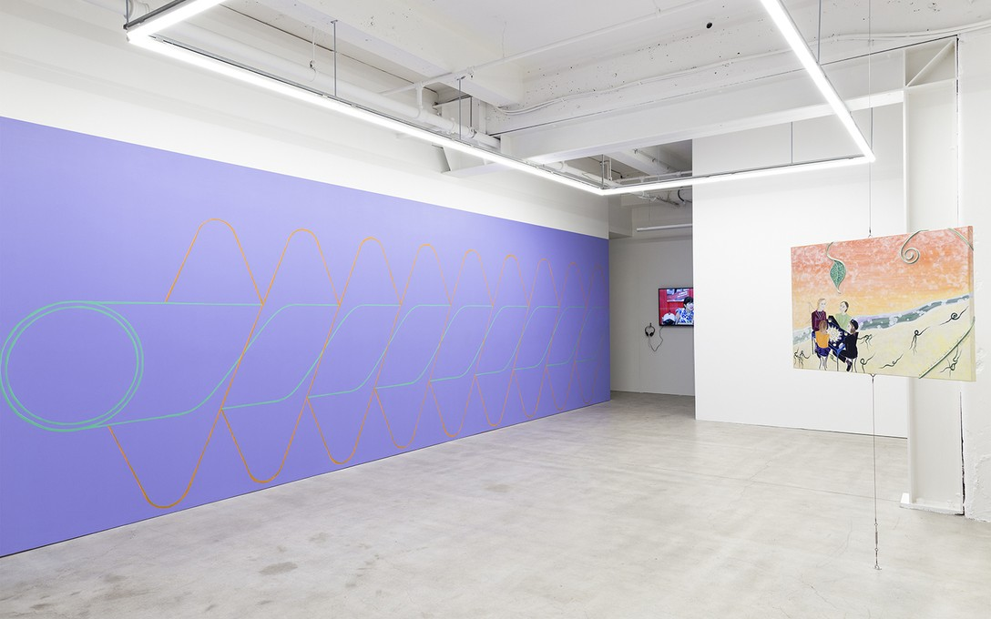 Imogen Taylor and Sue Hillery, Sluice, 2020, acrylic paint; Li-Ming Hu, Three interviews, 2019, digital video, 10:20 and Georgette Brown, And Holds Us At The Center While the Spiral Unwinds, 2020, acrylic paint, mediums and rope on canvas. Image courtesy of Cheska Brown.