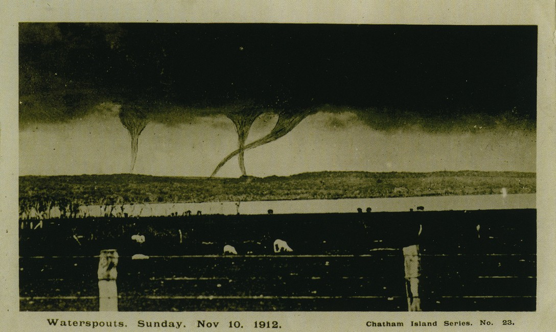 Triple Waterspouts, photographed off Chatham Islands, New Zealand, 1912. Lemuel Lyes Collection.
