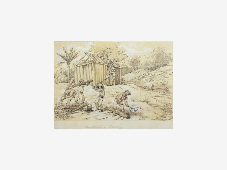 William Strutt, Building a whorry, 1855-6, pen drawing, 100 x 150 mm, Alexander Turnbull Library: E-453-f-012