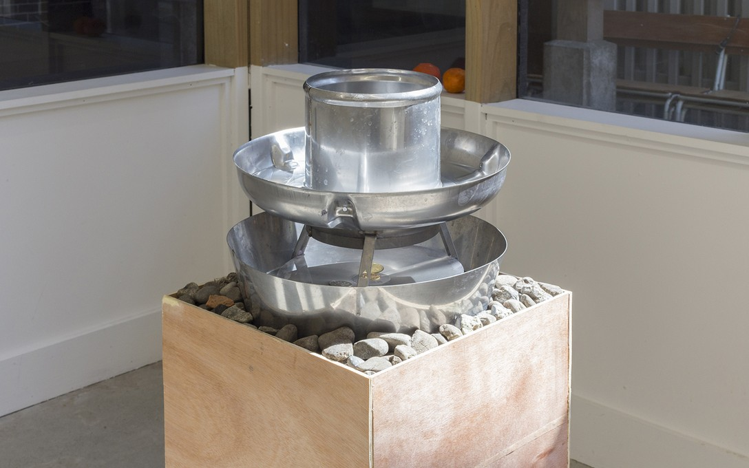 Bena Jackson and Teresa Collins, Fuckwit fountain, 2021, metal, weter, stones, bricks, ply, plinth, coins, detail. Image courtesy of Cheska Brown.