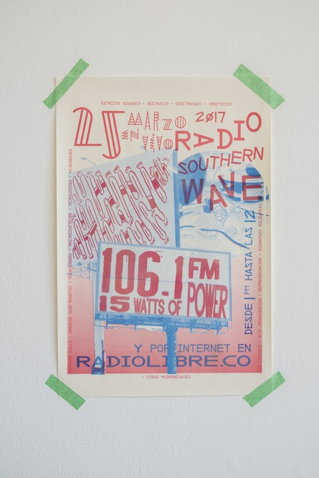 David Bennewith, I digress, 2017, 'Radio Southern Wave' poster designed by Luca Carboni. Image courtesy of Shaun Matthews.