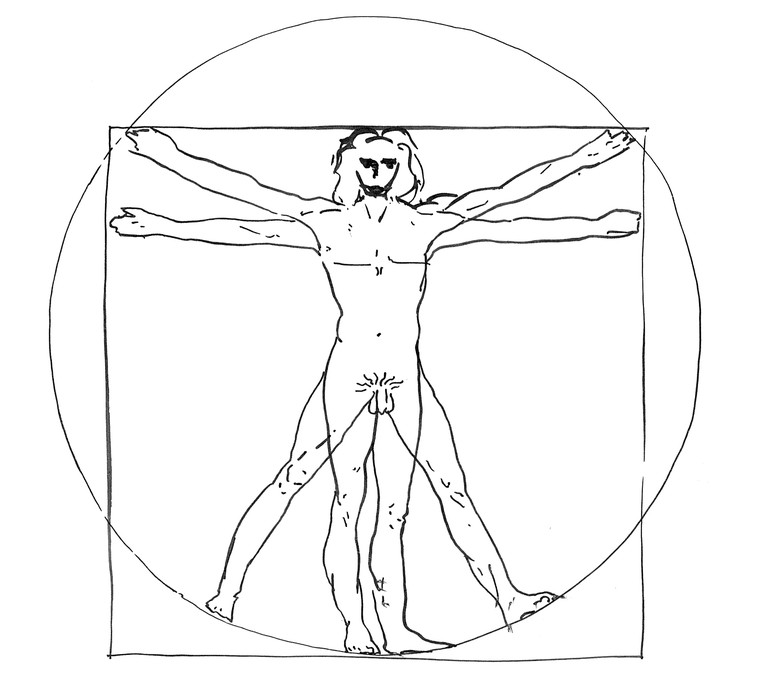 Rosie Evans, A Vitruvian Man, ink on paper, 297 × 210mm, 2015. © Rosie Evans