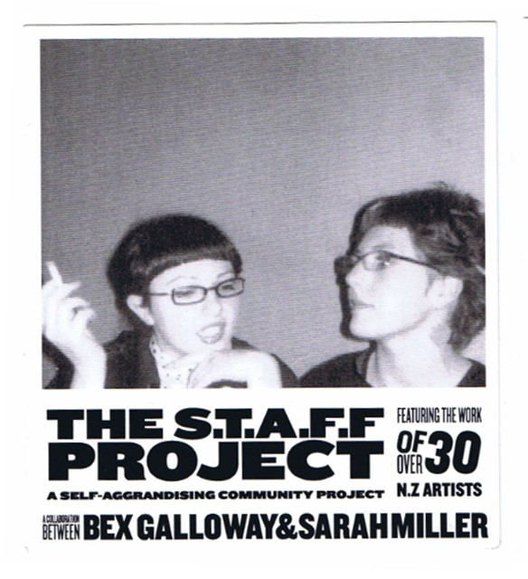 Bex Galloway and Sarah Miller, promotional postcard for The STAFF Project, 21 August – 18 September 2004. Image courtesy of Enjoy Public Art Gallery.