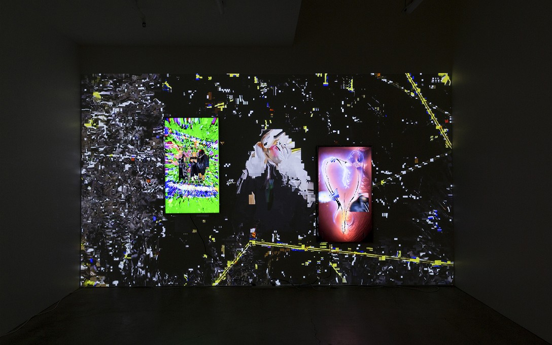 Laura Duffy, !ERROR!, 2020, installation view, multi-channel digital video installation, soundtrack by Strange Stains. Image courtesy of Cheska Brown.
