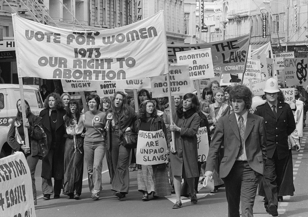 Pro-abortion march, Wellington. Negatives of the Evening Post newspaper. Ref: 1/4-021373-F. Alexander Turnbull Library, Wellington, New Zealand. http://natlib.govt.nz/records/23120612