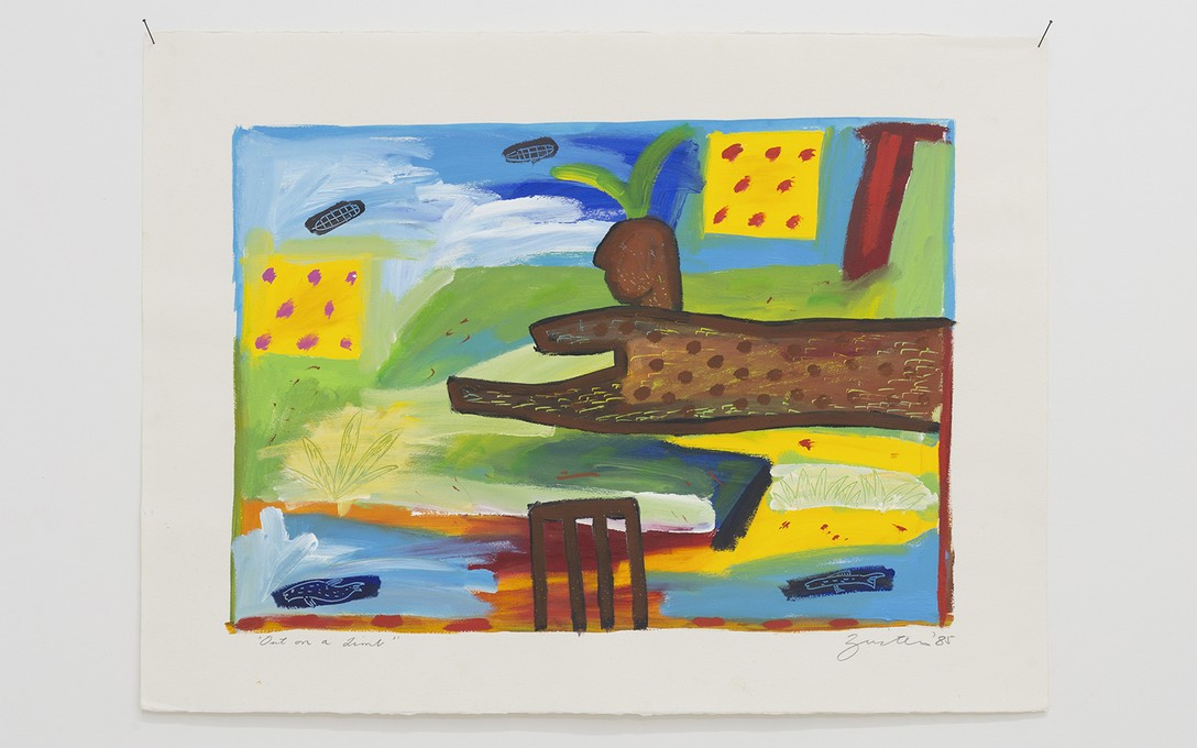 Jane Zusters, Out on a limb, 1985, acrylic on paper. Image courtesy of Cheska Brown.