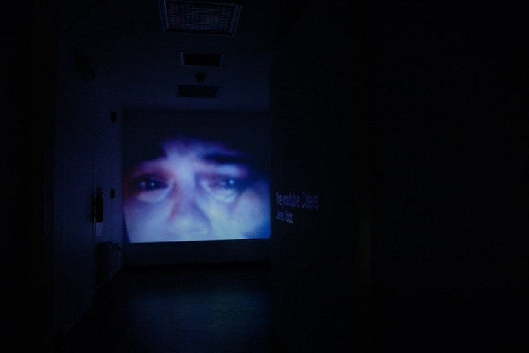Fig 13. Jenna Todd, The youtube Criers, digital video, full wall projection, 2007. © Blue Oyster Gallery