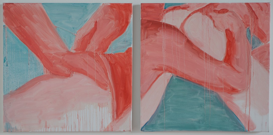 Robbie Handcock, Billy #1 [left], Billy #2 [right], 2017, oil on canvas. Image courtesy of Shaun Matthews.
