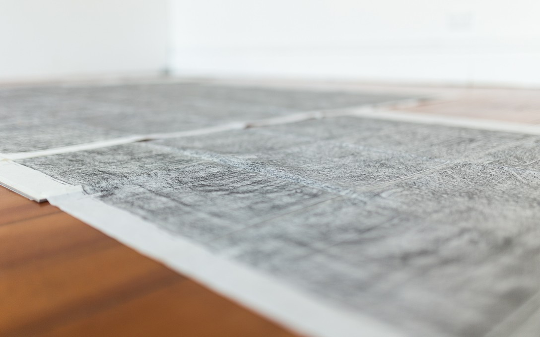 Gabrielle Amodeo, The Floor We Walk On (a drawing of the entire floor of our house), 2015. Image courtesy of Andrew Matautia.