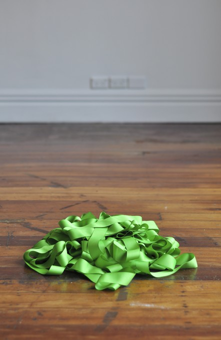 Rossana Martinez, You Can Sing Me Anything, 2011, fifty yards of 2 inch green ribbon. Image courtesy of Lance Cash.